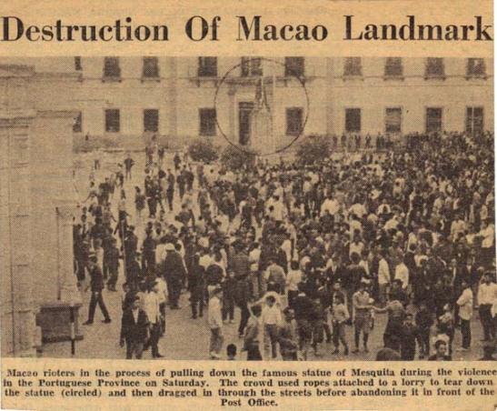 A derrubada da estátua do Coronel Mesquita nas manifestações maoístas em 1966 em Macau