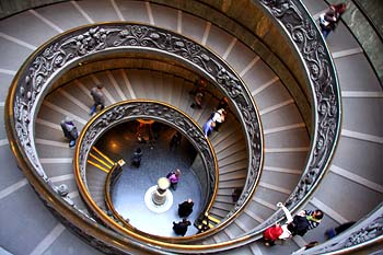A escadaria do Museu do Vaticano