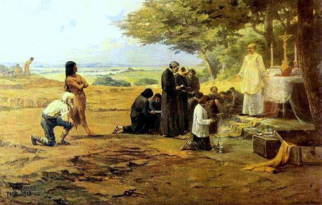 1ª missa em São Paulo. Ilustração de Antônio Parreiras 1913 (Wikipedia)