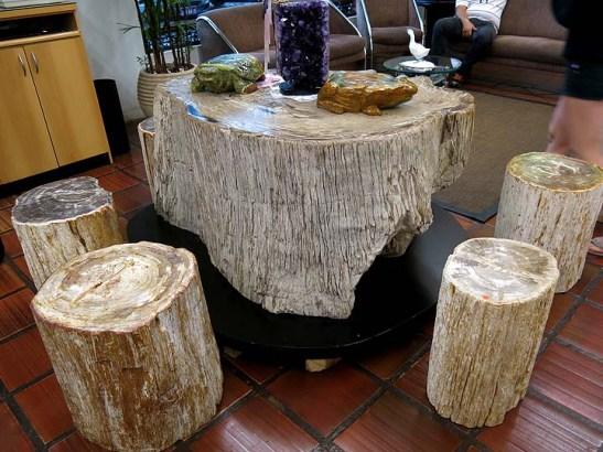 uma mesa com 4 bancos, de árvore petrificada