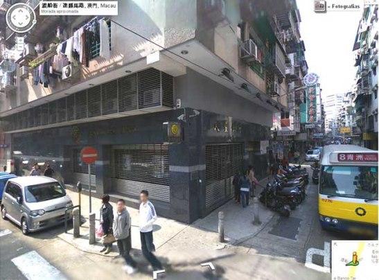 O local do Lai Seng, com a Rua da Barca à direita e a Estrada de Coelho do Amaral à esquerda