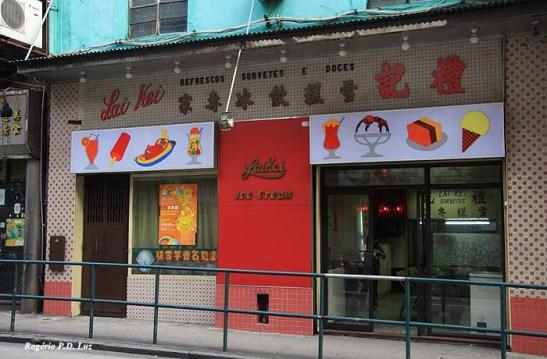 O Lai Kei ficou na vontade.  Fiquei de parar lá na volta do passeio a Tap Seac, mas acabei tomando um ônibus/autocarro na volta. É tradicional, existia desde os meus tempos antigos dos anos 60. Não saberia dizer como estão os sorvetes hoje