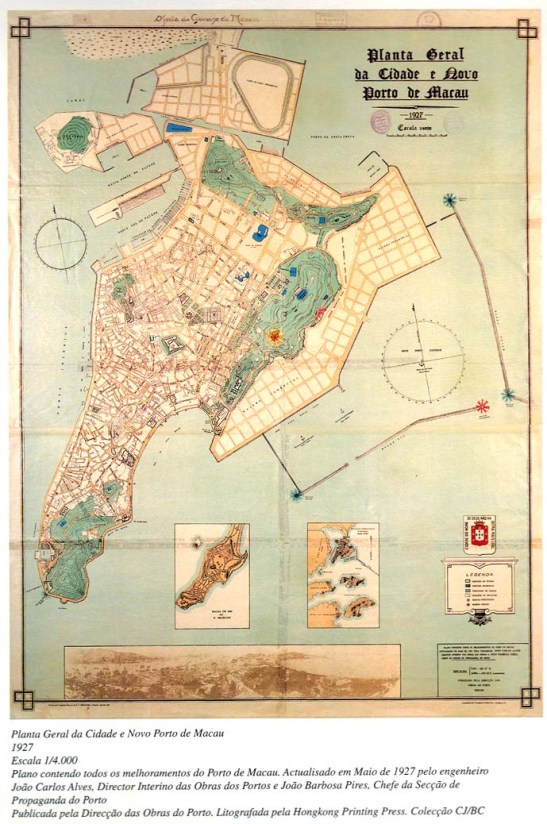 Mapa de Macau de 1927, do livro 100 Anos que Mudaram Macau do Governo de Macau 1995 (clicar para aumentar)