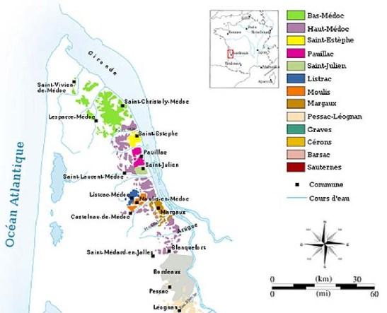 As variedades de vinhos de Médoc AOC