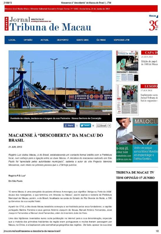 "Jornal Tribuna de Macau Macaense à ""descoberta"" da Macau do Brasil.(1)"