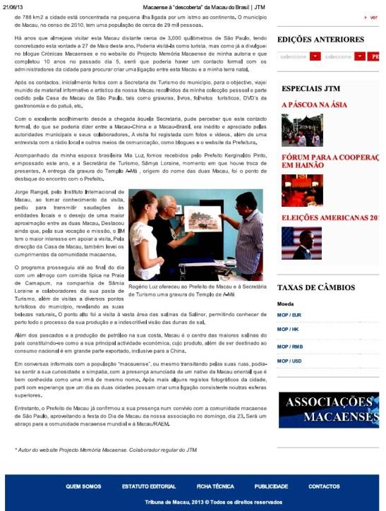 "Jornal Tribuna de Macau Macaense à ""descoberta"" da Macau do Brasil (2)"