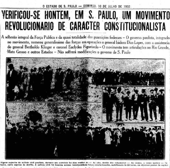9 de Julho 1932 Estadão notícia no dia 10
