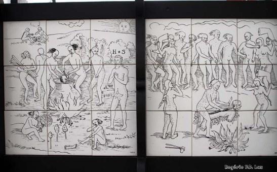 Pinturas alusivas ao canibalismo praticado na época por indígenas
