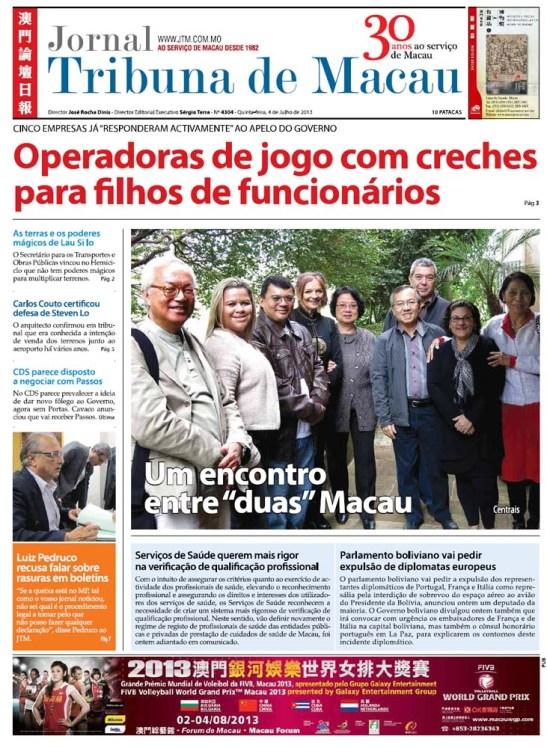 Jornal Tribuna de Macau 04.07.2013 Cumprida Nova Etapa de Ligação das duas Macau.capa.manchete.email