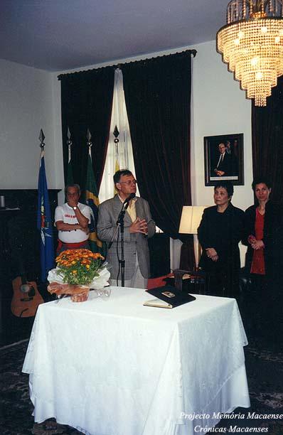 Sales Marques em visita à Casa de Macau de São Paulo como Presidente da Câmara Municipal de Macau Provisório