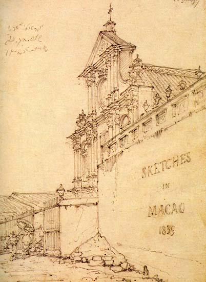 Igreja (antiga ermida) de São Domingos. Desenho de George Chinnery