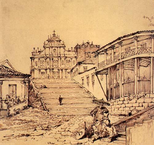 Igreja de Madre Deus (atual Ruínas de São Paulo). Desenho de George Chinnery