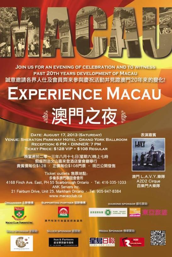 a promoção e convite da festa dos 20 anos do Macao Club