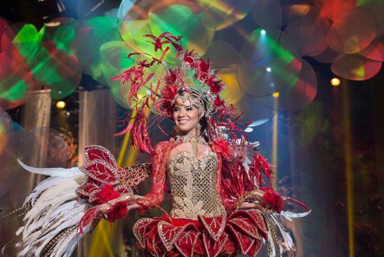 Tereza Azedo, Miss Amazonas, simbolizou a flor bela cirandeira do amazonas elaborado por Kaleb Aguiar Foto: Carol Gherardi/Band
