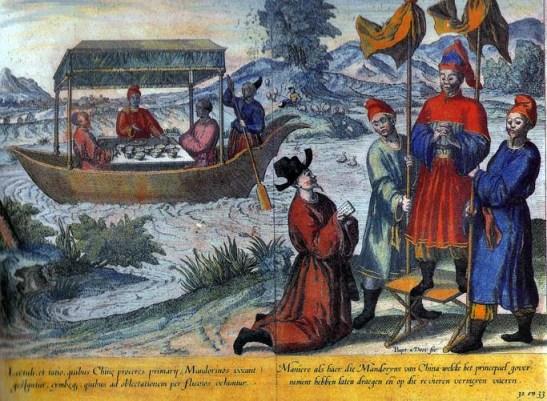 """Representação de Chineses, in Jan Huygenvan Linschoten - Itinerario, Amsterdão, 1596 (imagem do livro """"Fernão Mendes Pinto e os Mares da China"""").  Os chineses chamavam os portugueses de fulanchi"""