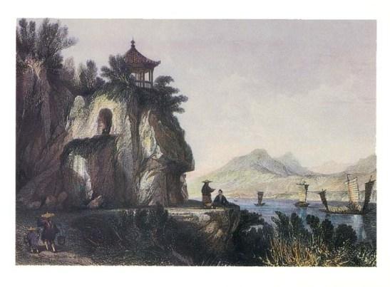 """""""A Gruta de Camoes, Macau"""" gravura de S.Bradshaw, segundo desenho de Thomas Allom, C. 1943 - Colecção do Museu de Arte de Macau"""