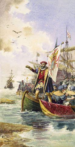 Chegada de Vasco da Gama a Calecute, Índia a 20 de Maio de 1498
