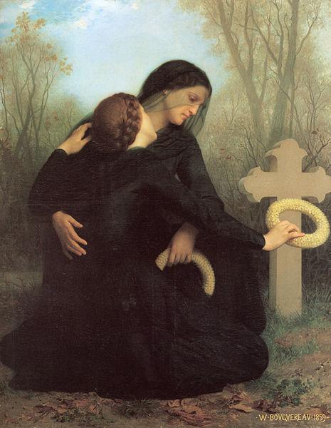 """""""Le Jour des morts"""" (o dia dos mortos) de 1859. Óleo sobre tela de autoria de William-Adolphe Bouguereau (1825–1905). Origem: Wikimedia Commons"""