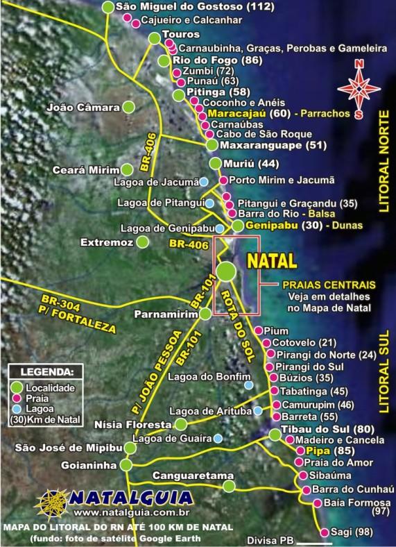Mapa do litoral de Natal, e na parte inferior está a Rota do Sol