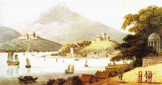Vista de Macau da Gruta de Camões - de Clark Walton. Aquarela (aguarela) colorida em 1814 (do Museu de Luís de Camões/Leal Senado/Macau)