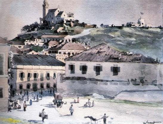 A Ermida da Penha vista do Porto Interior - de George V. Smirnoff . Aquarela (aguarela) em papel, c.1942/1943 (do Museu de Luís de Camões/Leal Senado/Macau)