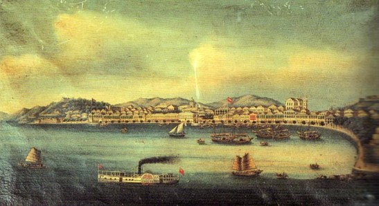 Vista da Praia Grande, Macau. Autoria atribuída ao Barão de Cercal . Pintura a óleo sobre tela. Da Sociedade de Geografia de Lisboa (sem data)