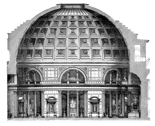 Um corte dá uma visão de como é o Pantheon