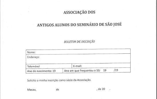 Boletim inscrção Associação dos Antigos Alunos do Seminario S.Jose