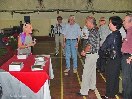 Margarida Ribeiro na apresentação do seu livro na Casa de Macau de São Paulo