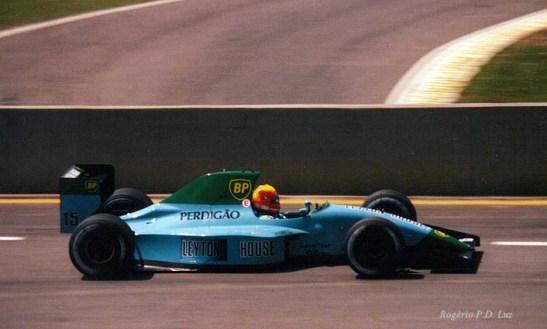 Maurício Gugelmin no F1 da March em Interlagos em 1990. Foto: Rogério P.D. Luz
