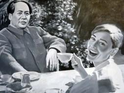 """""""Afternoon Tea"""" do pintor realista Shi Xinning reproduz cena fictícia de Mao Tse Tung tomando chá com uma celebridade"""