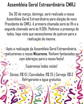 CMRJ convocação eleições 2014