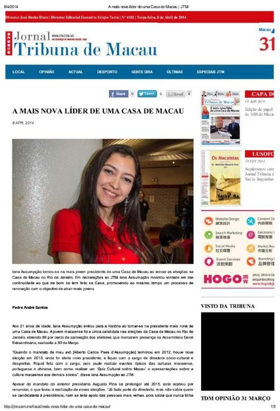 Iana Assumpção no Jornal Tribuna de Macau (1)