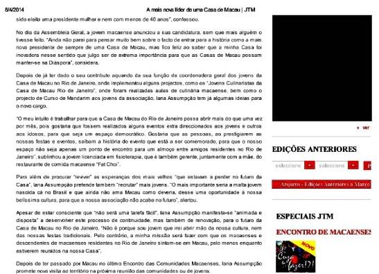 Iana Assumpção no Jornal Tribuna de Macau (2)
