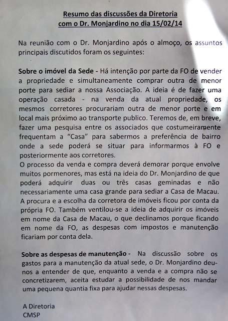 O comunicado da Direção sobre as negociações para venda e compra do imóvel da Casa de Macua