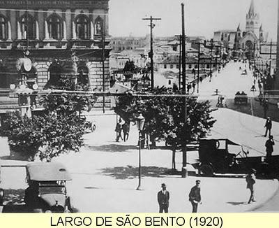Largo de São Bento em 1920, vendo-se à direita o Viaduto e a Igreja de Santa Ifigênia