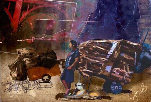 """""""Homens de Papel"""", diz o Virgílio César: """"Fiz esta gravura baseada numa foto que tirei na Rua Augusta há alguns anos. Esta mesma imagem, simplificada, foi usada para um pôster prospecto de adaptação para uma proposta de filme do conto de Plinio Marcos"""
