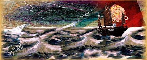 """""""Orientalice"""" da sua gravura digital: """"Noutros Mares"""" - de 594mm x 250mm. Autor: Virgílio J.P. César"""