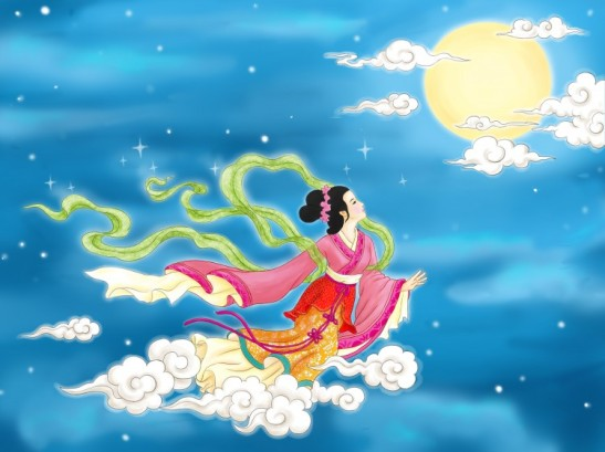 Chang'e ascende ao céu como uma deusa depois de beber o elixir da imortalidade. (Tao Yin/The Epoch Times)