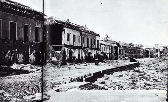 Praia Grande após o tufão de 1874 (zona entre o Palácio do Governo e o edifício dos tribunais)