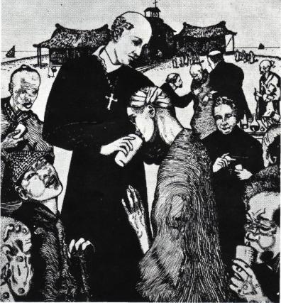 D. Belchior tratando dos leprosos (Desenho do Barão Von Reichnau)
