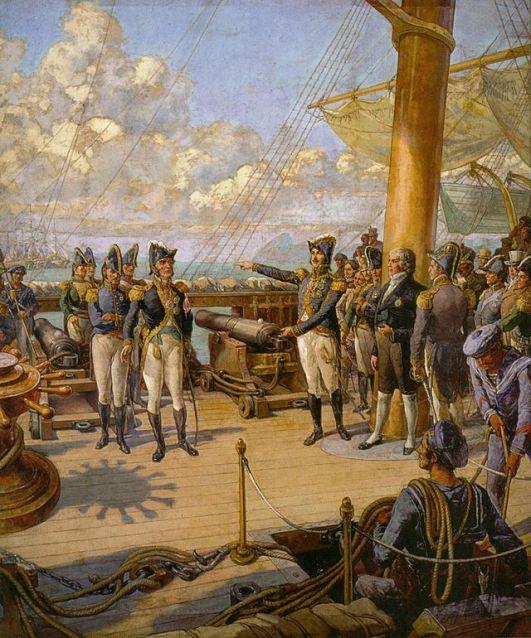 Imperador Pedro I do Brasil (direita) ordena ao oficial português Jorge Avilez (esquerda) que retorne a Portugal após sua rebelião fracassada. José Bonifácio pode ser visto ao lado de Pedro I.