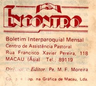 Macau Padre Moreira boletim Encontro Abril 1987 referencia