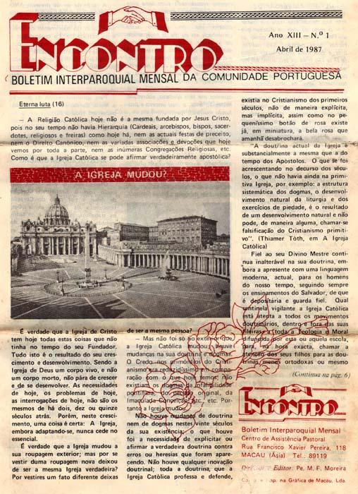 Macau Padre Moreira boletim Encontro Abril 1987