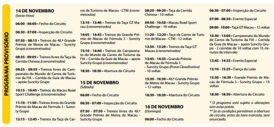 Grande Premio de Macau 2014 programação