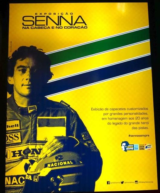 Salão Automoveis 2014 homenagem Ayrton Senna capacetes cartaz