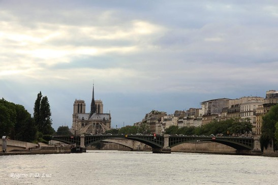 A catedral vista do Rio Sena