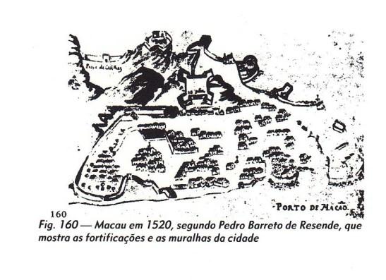 Macau mapa de 1520. Origem: livro Fortificações de Macau