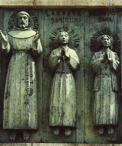 Pormenor do altar evocativo dos 27 mártires de Nagasáqui (foto de Ricardo Fonseca)