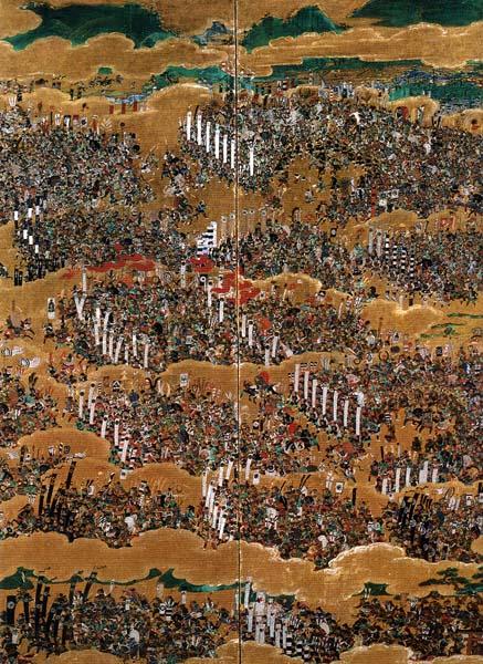 Biombo evocativo da Guerra de Osaka (foto de Ricardo Fonseca)